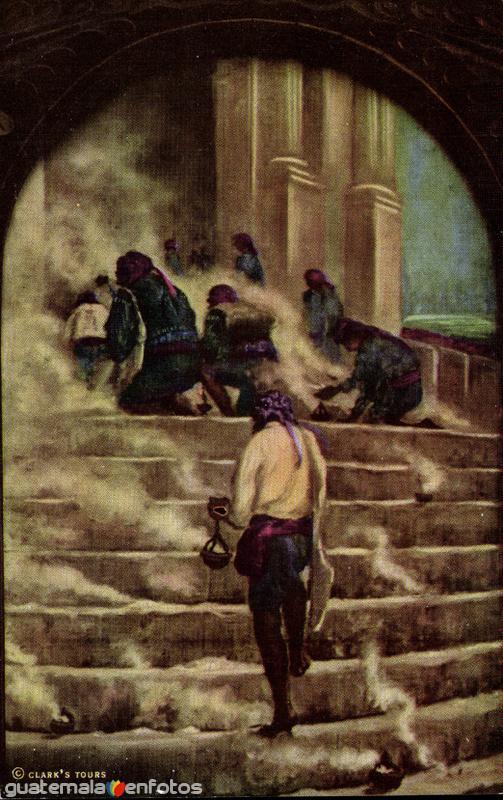 Indios orando a las puertas del templo de Santo Tomás, pintura de H. Garavito